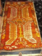 "ANTIQUE RUG / PRAYER MAT ? 34"" X 19"" RICH RUST ORANGE & OCHRES BOLD  VELVET FEEL"
